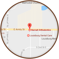 Louisburg Map at Hannah Orthodontics in Olathe Emporia Lenexa/Shawnee Louisburg Kansas City, KS